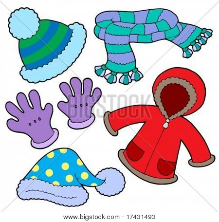 Winter clothes collection - vector illustration.