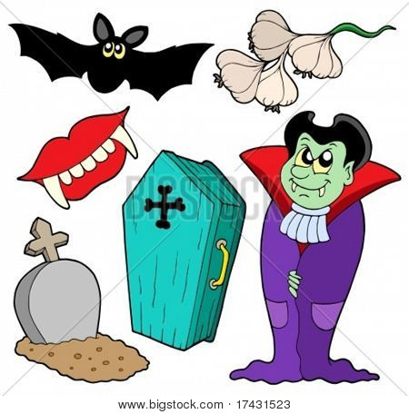 Vampire collection on white background - vector illustration.