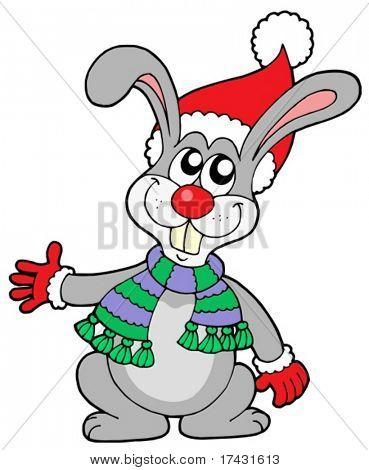 Lindo conejo en el sombrero de la Navidad - ilustración vectorial.