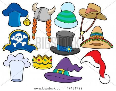 Various hats collection - vector illustration.