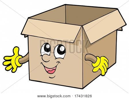 Open cute cardboard box - vector illustration.