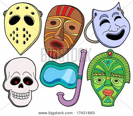 Various masks collection 1 - vector illustration.