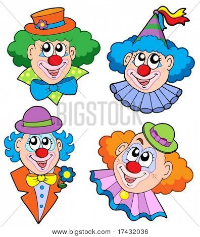 Clowns head collection - vector illustration.