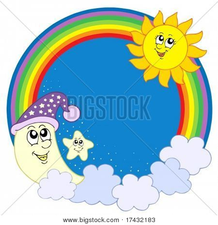 Moon sun star in rainbow circle - vector illustration.
