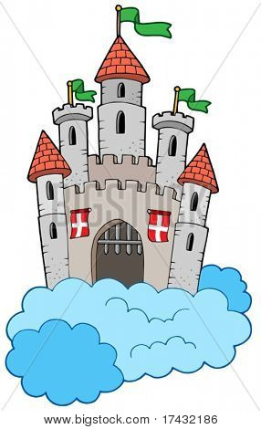 Medieval castle on clouds - vector illustration.