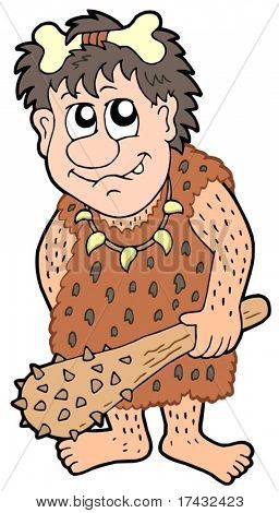Cartoon prehistoric man - vector illustration.