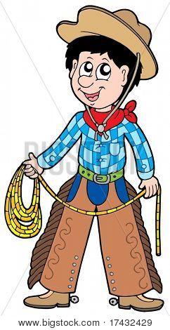 Cartoon cowboy with lasso - vector illustration.