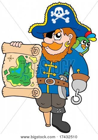 Pirata com mapa do Tesouro - ilustração vetorial.