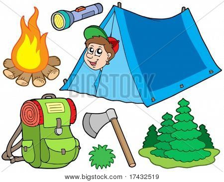 Camping collection on white background - vector illustration.
