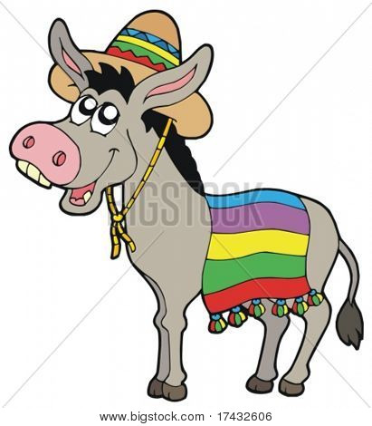Mexican donkey with sombrero - vector illustration.