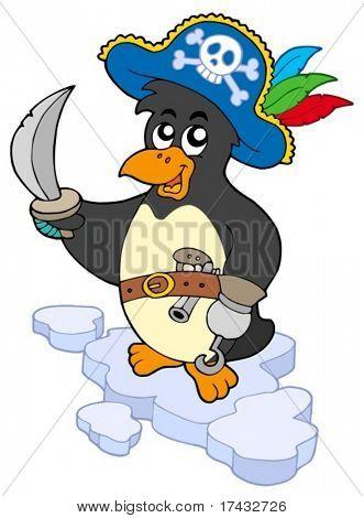 Pirate penguin on white background - vector illustration.