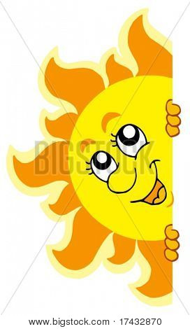 Lurking Sun on white background - vector illustration.