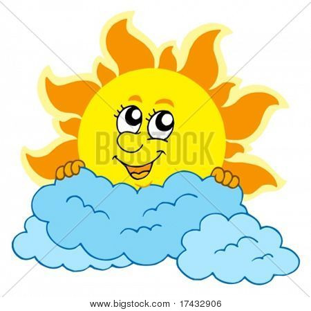 Cute cartoon Sun with clouds - vector illustration.