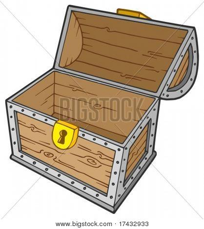Open empty treasure chest - vector illustration.