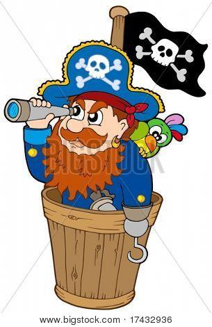 Pirata no relógio do cão - ilustração vetorial.