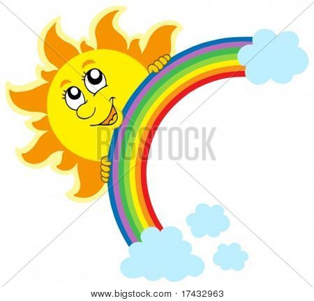 Lurking Sun with rainbow - vector illustration.