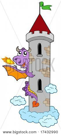 Lurking dragon with castle tower - vector illustration.