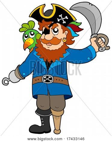 Pirate with parrot and sabre - vector illustration.