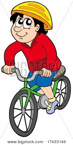 Cartoon cyclist on white background - vector illustration.