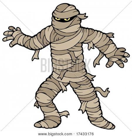 Ancient mummy on white background - vector illustration.