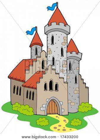 Ancient medieval castle - vector illustration.