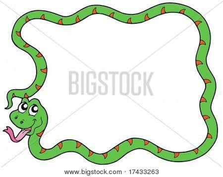 Snake frame 2 on white background - vector illustration.