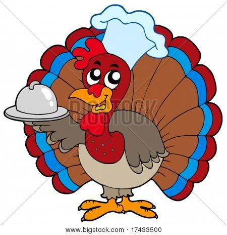 Turkey chef on white background - vector illustration.