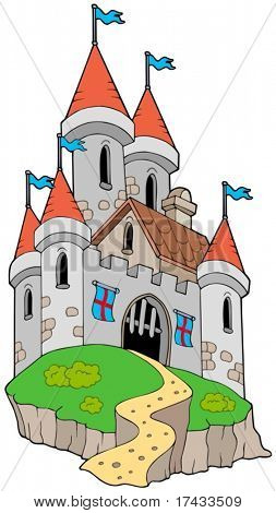 Spectacular medieval castle on hill - vector illustration.