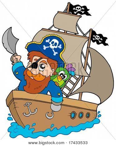 Pirata navegando no navio - ilustração vetorial.