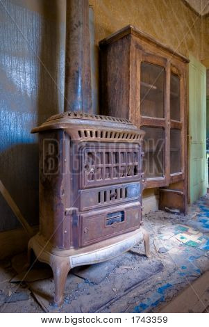 Interior Of An Abandoned House In Bodie Ghost Town, California