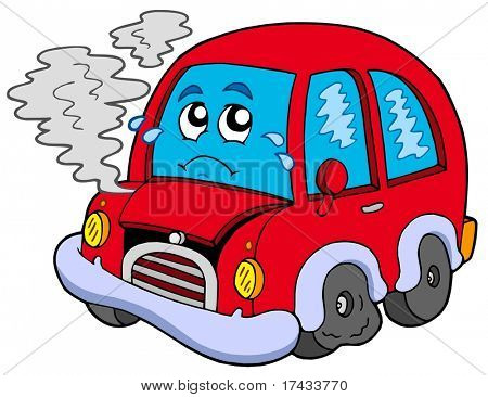 Broken cartoon car - vector illustration.