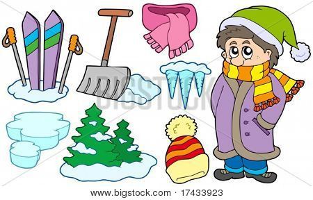 Collection of winter images - vector illustration.