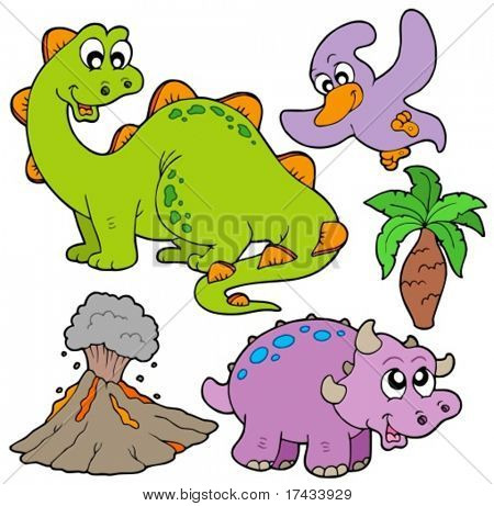 Prehistoric collection on white background - vector illustration.
