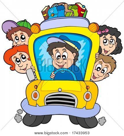 School bus with children - vector illustration.