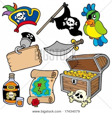 Pirate collection 10 on white background - vector illustration.