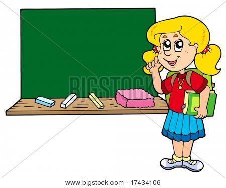 Advising school girl with blackboard - vector illustration.