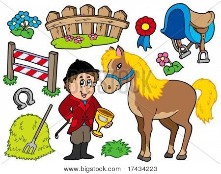 Horse collection on white background - vector illustration.