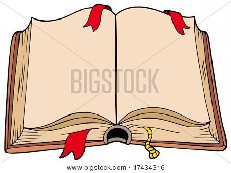 Ancient opened book - vector illustration.
