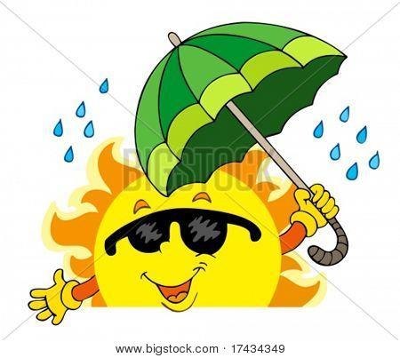 Lurking Sun with big umbrella - vector illustration.