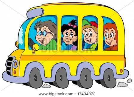 Cartoon school bus with kids - vector illustration.