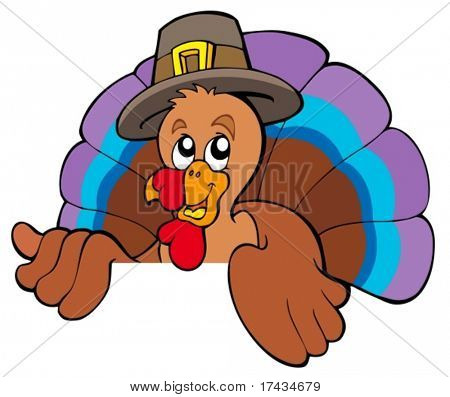 Lurking cartoon turkey in hat - vector illustration.