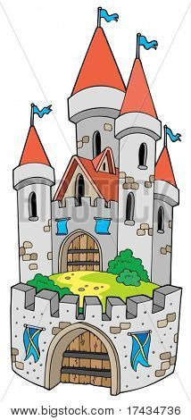 Cartoon castle with fortification - vector illustration.