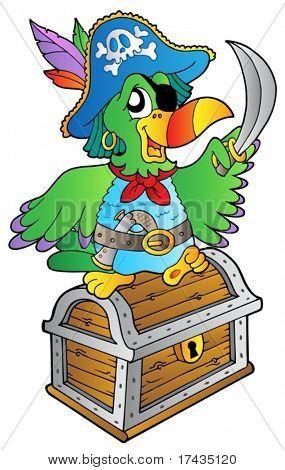 Papagaio de pirata na Arca do Tesouro - ilustração vetorial.
