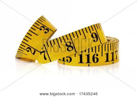 Yellow tape measure, isolated on white with reflection.