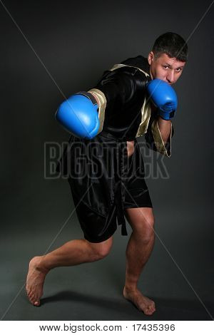 strong handsome boxer on dark