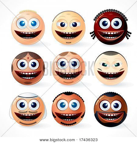 Multi ethnic people Faces, Smileys - vector illustration set of cartoon emoticons of world community