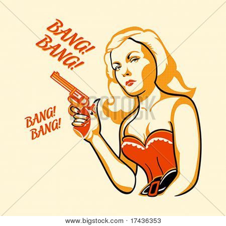 Gangster woman in retro three color print halftone pattern