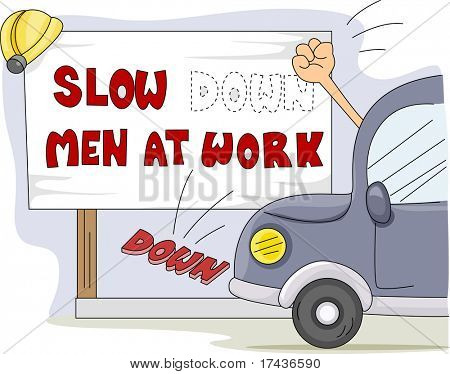 Illustration of a Motorist Knocking Down a Construction Notice