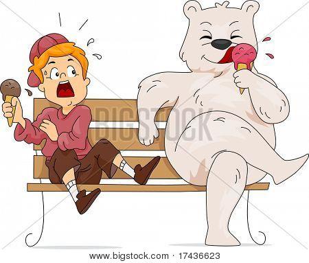 Illustration of a Polar Bear Eating Ice Cream