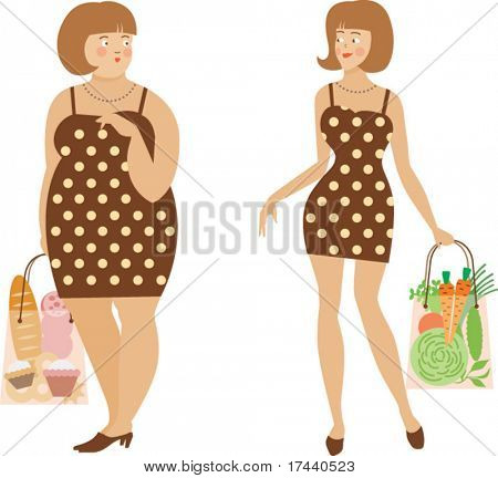 The image of two women - thick and thin